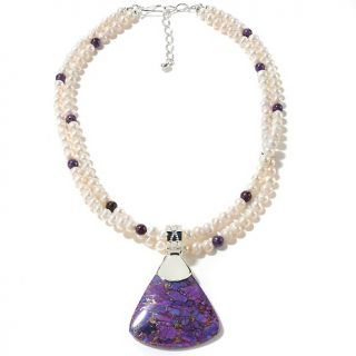 Jay King Purple Turquoise Pendant and Beaded Necklace