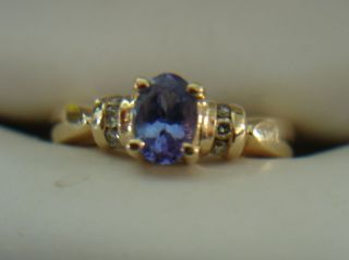 Gorgeous Hallmarked LeVian Tanzanite Diamond Ring 14k Yellow Gold