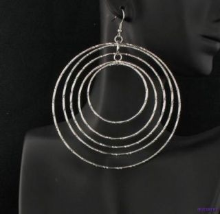 Silver Extra Large Multi Cross Cut Hoops Hoop Clip / Pierced Earrings