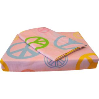 3pc Pink Peace Signs Extra Long Twin Sheet Set Deep Pocket Hippie Bed