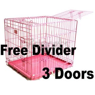 24 3 Door Pink Folding Dog Crate Cage Kennel Three 2