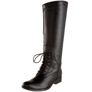 Tall Riding Boots Black Leather 6 M Equestrian Lace Side Zipper