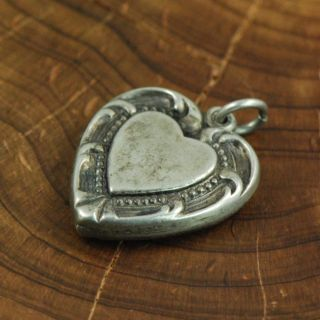Sterling Silver Engravable Puffy Heart Charm Pendant ZD276