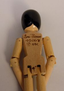 Eric Horne Carved Wood 4 Jointed Miniature Dutch Type Doll UK Artist