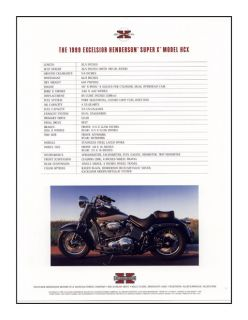 Excelsior Henderson® Motorcycle Factory Spec Sheet