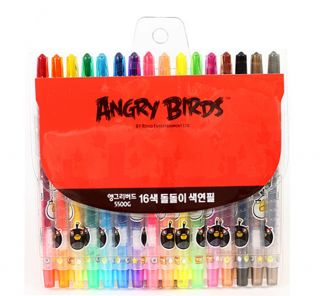 Angry birds 16 colored pencils set/Kids 16 Colored Pencil Art Drawing