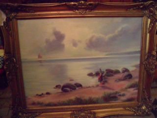 Antique Victorian 19th Century Oil Painting Signed F J Spicker In