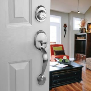 Front Door Entry Set Lock Satin Nickel Lever Vail