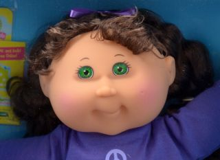Cabbage Patch Kids Doll Autumn Erica Long Dark Brown Hair Green Eyes