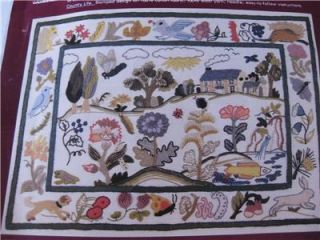 Erica Wilson Country Life English Country Scene Crewel Stitchery Kit
