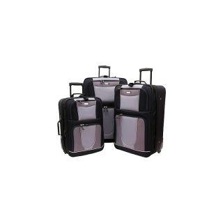 109 1555 geoffrey beene carnegie 3 piece luggage set black grey rating