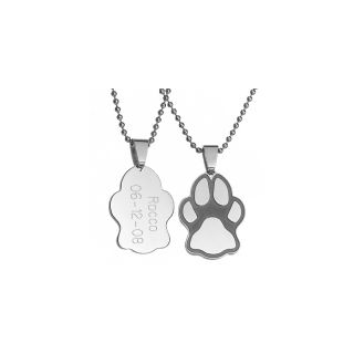 106 9692 engraved stainless steel paw print pendant cat or dog note