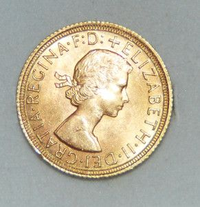 1964 Full Sovereign Elizabeth II British Gold Coin MS++