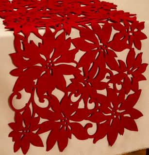 12 x 68 Long Red Christmas Poinsettia Table Runner Decoration