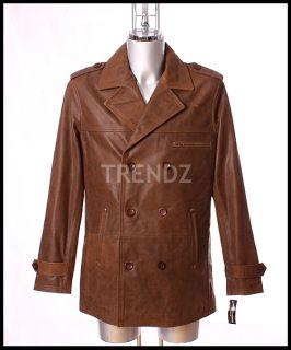 DeNiro Mens Vintage Brown Reefer Leather Jacket XL