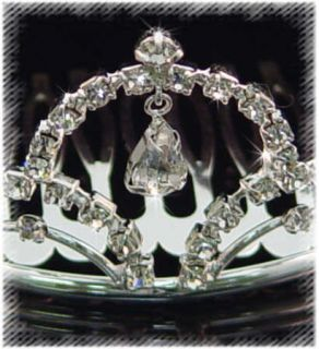 Small Silver with Crystal Crown Tiara Flowergirl Bride
