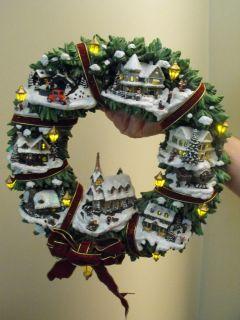 Thomas Kinkade Christmas Village Wreath with Authentication
