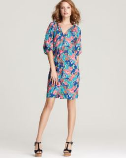 Ella Moss New Multi Color Floral Print Button Down Front Casual Dress