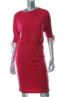 Ellen Tracy Pink Matte Jersey Ruched Elbow Sleeves Blouson Casual