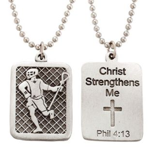Lacrosse Dog Tag on 22 Stainless Steel Chain Sports Jewelry