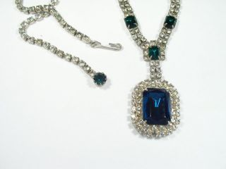 Vtg Faux Emerald Diamante Deco Era Necklace Earring Set