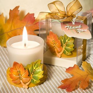 25 Autumn Theme Fall Leaf Votive Candle Wedding Favor Bulk Lot