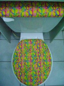 Retro Peace Sign Toss Yellow Fabric Toilet Seat Cover Set