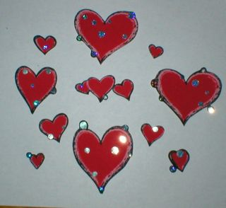 11 Iron on Valentines Hearts Fabric Appliques Iron Ons