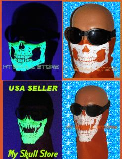 New Motorcycle Skull Face Mask Bandana Ghost Biker Harley Orange White