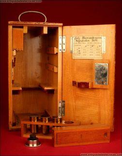 1909. Ernst Leitz Wetzlar Microscope. Original Case.Good Condition