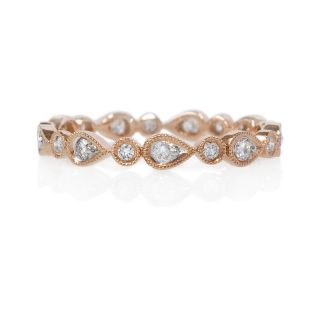 18K Rose Gold Diamond Antique Eternity Wedding Band Ring