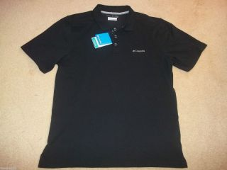 Columbia Mens New Black Pique Golf Elm Creek UPF15 Polo Sport Shirt L
