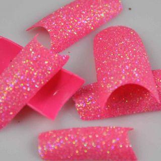 100 Stunning Glitter Super Pink Acrylic French False Nail Art Tips NEW
