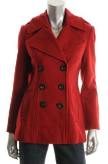 Famous Catalog New Red Double Breasted Wool Pea Coat Jacket L BHFO