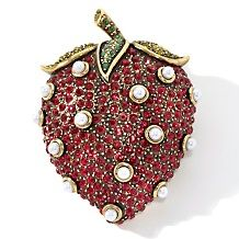 heidi daus crystal accented strawberry design pin $ 139 95