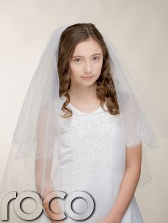 Girls White Traditional First Holy Communion Veil Fine Satin