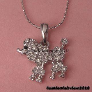 Swarovski Crystal 18K White Gold GP Dog Mini Schnauzer Pendant