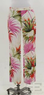 etro green pink floral print cotton pants size 42