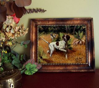 Ettinger Pointers Bird Dog Horse Print Antique Vintage Style Framed