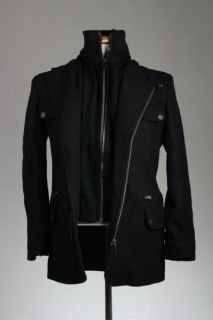 NWT Emanuel Ungaro Black Wool Leather Trim Coat/Jacket S NEW