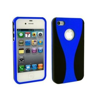 Blue 3 Piece Hard Case Cover Screen Protector For iPhone 4 4G 4S
