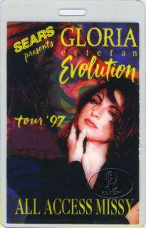 laminated backstage pass for the GLORIA ESTEFAN 1997 EVOLUTION TOUR