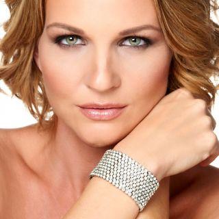 Justine Simmons Jewelry Clear Crystal Silvertone Bezel Set 10 Row