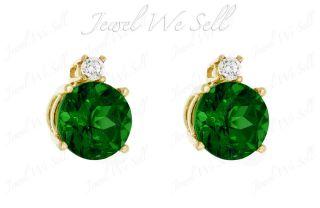 20 Ct Genuine Emerald Diamond 14k White Gold Stud Earrings Prong May