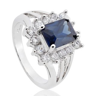 Emerald Cut Royal Blue Sapphire Topaz Ring Jewellery 7 O 1027BLU7