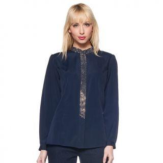 160 411 diane gilman dg2 goldtone stud long sleeve crepe blouse note