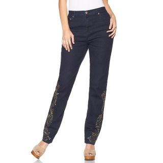 164 921 diane gilman dg2 stud and jeweled embroidered skinny jeans