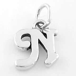 Sterling Silver 925 Fancy Letter N Charm Pendant