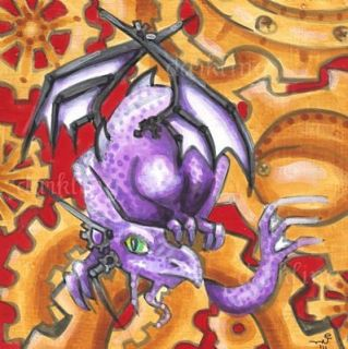 Purple Steampunk Big Eye Dragon Original Fantasy Art Acrylic Wood