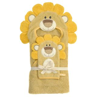 FAO Schwarz Baby Safari Hooded Bath Towel Bath Mitt Set Lion